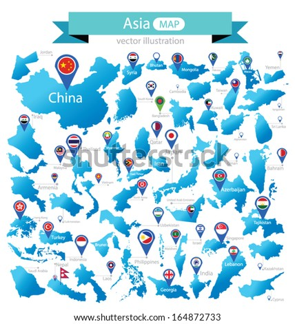 Map of Asia. Country. flag pointer. vector Illustration. - stock vector
