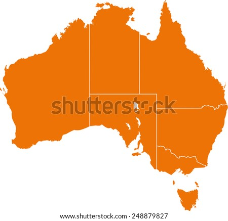 Map of Australia  - stock vector