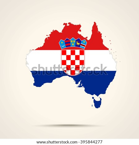 Map of Australia in Croatia flag colors - stock vector
