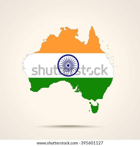 Map of Australia in India flag colors - stock vector