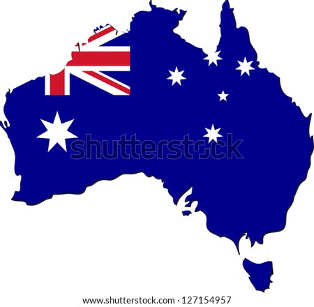 Map of Australia with national flag isolated on white background - stock vector