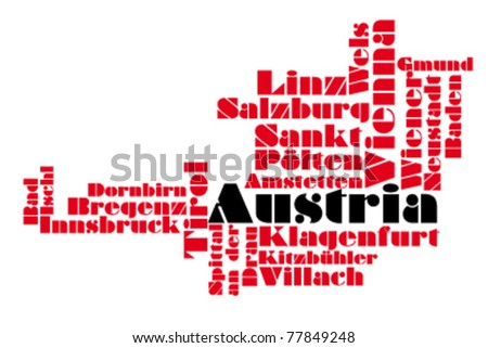 map of austria - stock vector