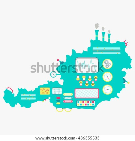 Map of Austria like a cute apparatus with buttons, panels and levers. Isolated. White background.  - stock vector