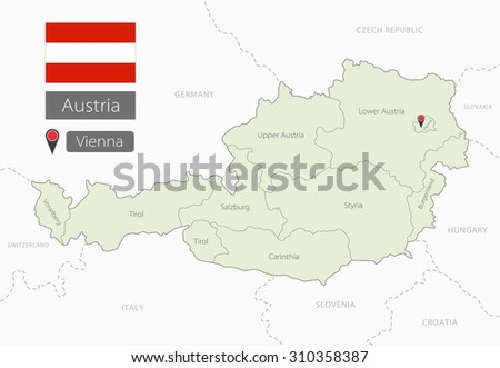 Map of Austria with with region borders. Administrative division - stock vector