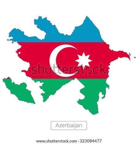 Map of Azerbaijan with an official flag. Asia  - stock vector