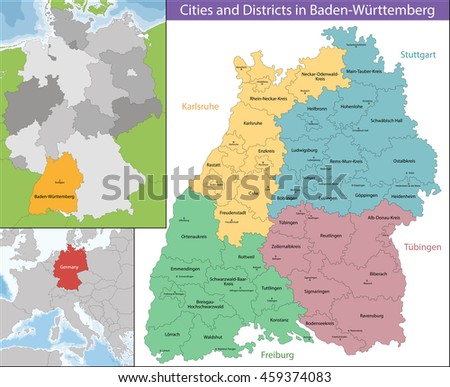 Map of Baden-Wurttemberg - stock vector
