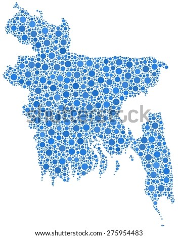 Map of Bangladesh - Asia - in a mosaic of blue bubbles - stock vector