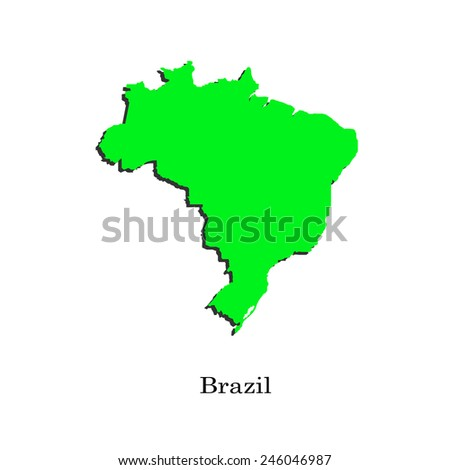Map of Brazil for your design, concept Illustration. - stock vector