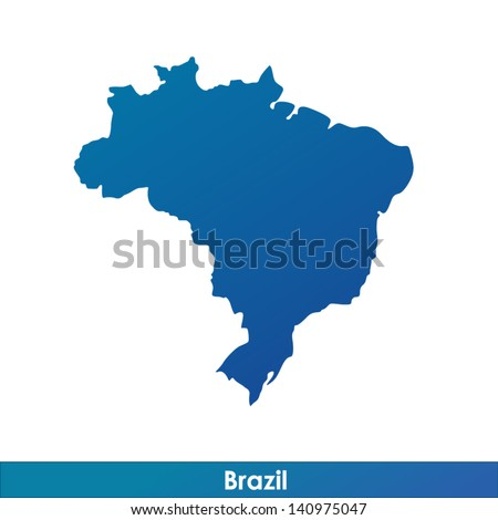 Map of Brazil. Silhouette isolated on a white background. - stock vector