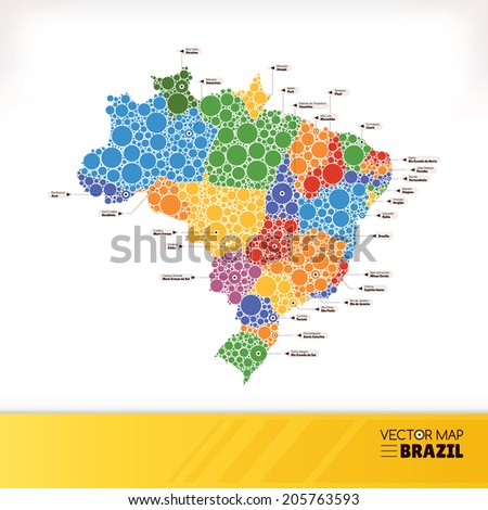 Map of Brazil vector illustration - stock vector