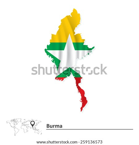 Map of Burma with flag - vector illustration - stock vector