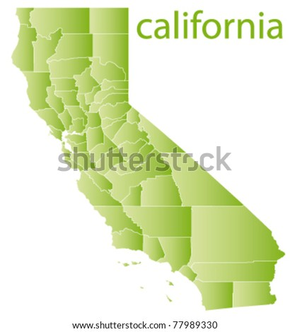 map of california state, usa - stock vector