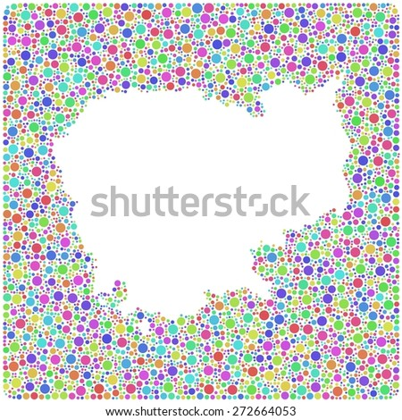 Map of Cambodia - Asia - into a square icon. Mosaic of harlequin bubbles - stock vector