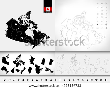 Map of Canada. Black and blind maps. Regions and provinces. Highly detailed vector illustration.Image contains: land contours, Canada flag, navigation icons.   - stock vector