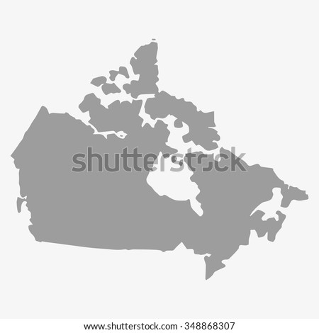 Map  of Canada in gray on a white background - stock vector