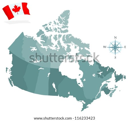 Map of Canada, regions and provinces - stock vector