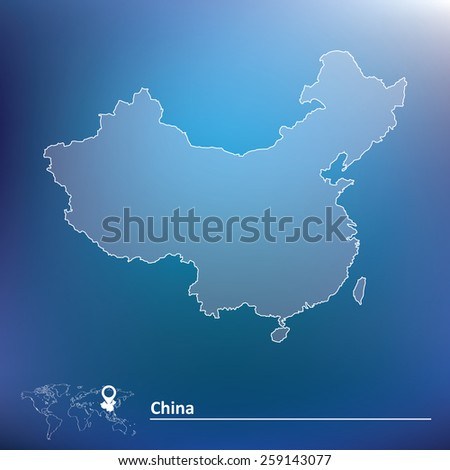 Map of China - vector illustration - stock vector