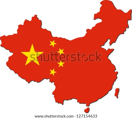 Map of China with national flag isolated on white background - stock vector
