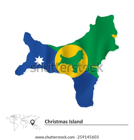 Map of Christmas Island with flag - vector illustration - stock vector