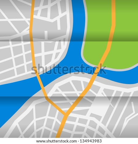 Map of city with river and park. eps10 - stock vector