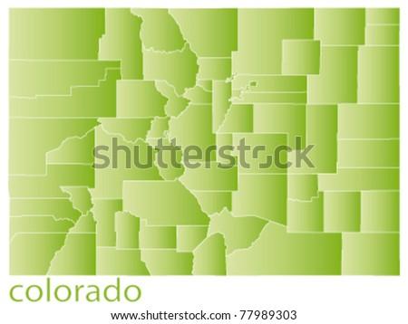 map of colorado state, usa - stock vector