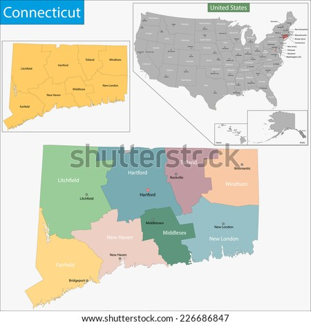 Map of Connecticut state designed in illustration with the counties and the county seats - stock vector