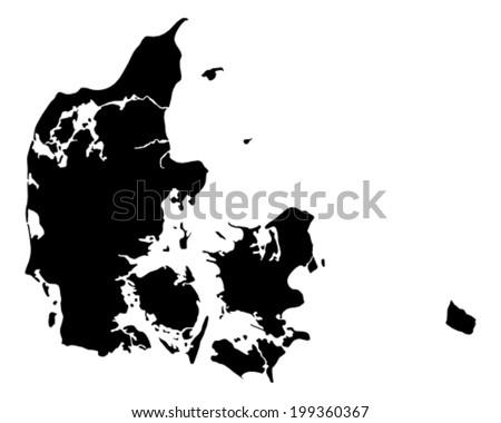 Map of Denmark - stock vector