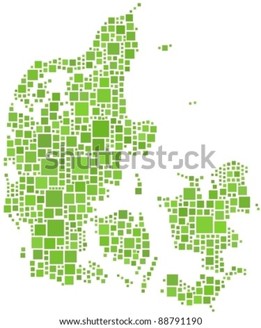 Map of Denmark (Europe) in mosaic of squares - stock vector