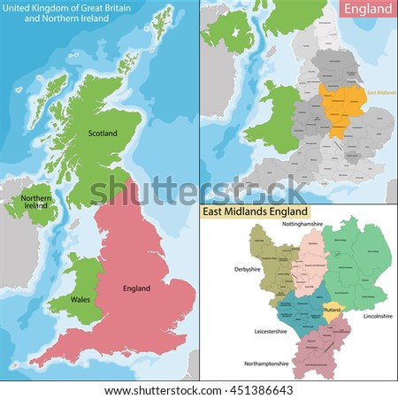 Map of East Midlands England - stock vector