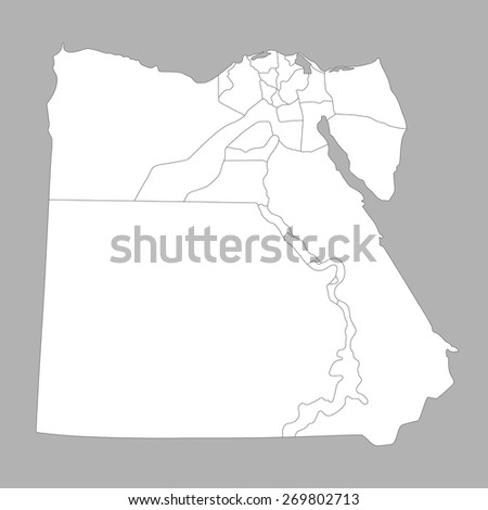 Map of Egypt on gray background - stock vector