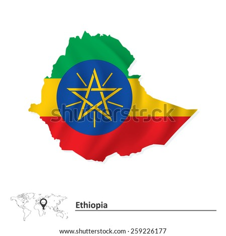 Map of Ethiopia with flag - vector illustration - stock vector