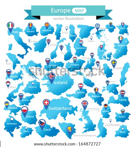 Map of Europe. Country. flag pointer. vector Illustration. - stock vector