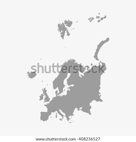 Map  of Europe in gray on a white background - stock vector