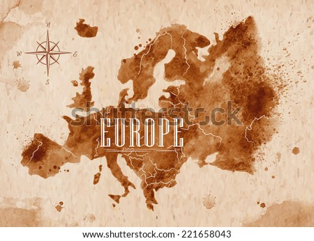 Map of Europe in old style in vector format, brown graphics in a retro style - stock vector