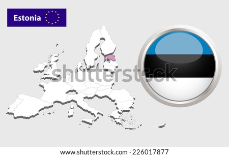 Map of European Union countries, with every state easy selectable and editable. Estonia. Vector - Estonia Flag Glossy Button  - stock vector