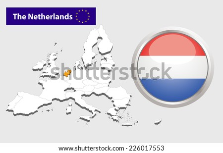 Map of European Union countries, with every state easy selectable and editable. Netherlands .Vector - Netherlands Flag Glossy Button  - stock vector