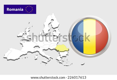 Map of European Union countries, with every state easy selectable and editable. Romania. Vector - Romania Flag Glossy Button - stock vector