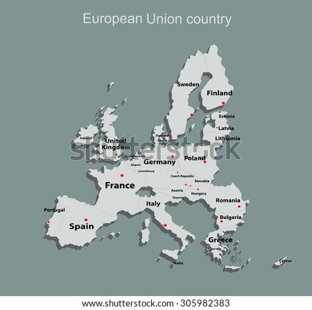 Map of European Union with all names of members countries - stock vector
