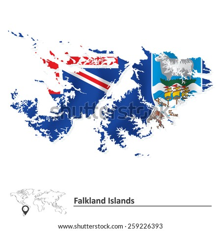 Map of Falkland Islands with flag - vector illustration - stock vector