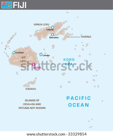 Map of Fiji - stock vector