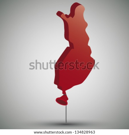 map of Finland in form of a balloon - stock vector