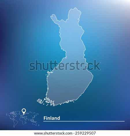 Map of Finland - vector illustration - stock vector