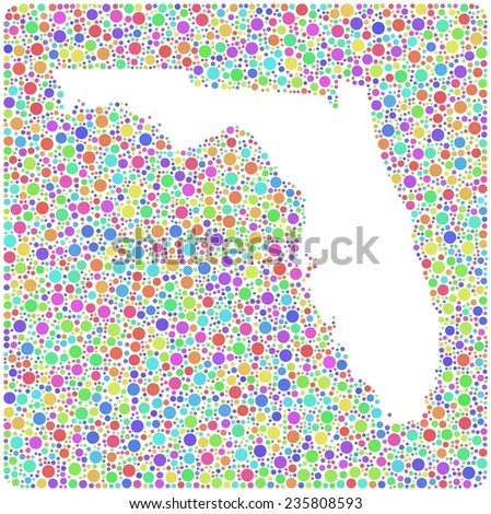 Map of Florida - USA - into a square icon. Mosaic of colored circles - stock vector