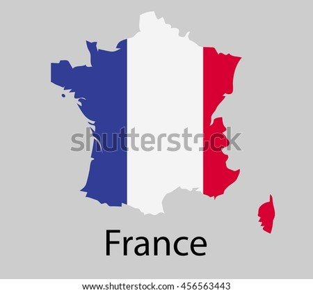 Map of France with flag. Vector illustration. - stock vector
