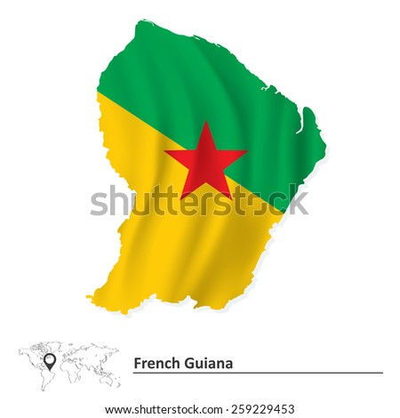 Map of French Guiana with flag - vector illustration - stock vector