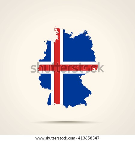 Map of Germany in Iceland flag colors