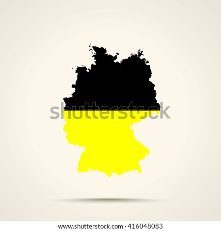 Map of Germany in Kashubia flag colors - stock vector