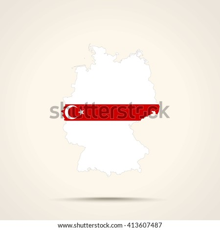 Map of Germany in Lipka Tatars flag colors    - stock vector