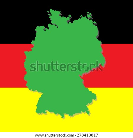 Map of Germany on the background of the national flag - stock vector