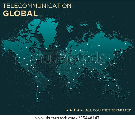 Map of Global Telecommunications (All countries separated) - stock vector